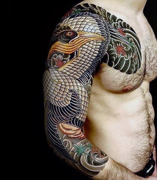 Mens Pelican Tattoo Design Inspiration Japanese Full Arm Sleeve