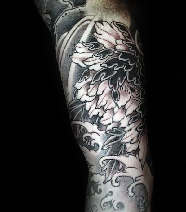Mens Peony Japanese Waves Sleeve Tattoo With Black And Grey Shaded Ink