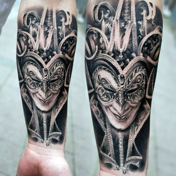 Mens Phantom Mask Decorative Inner Forearm Tattoo Designs