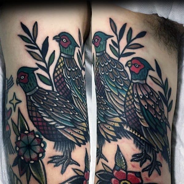 Mens Pheasant Tattoo Ideas Inner Arm Bicep