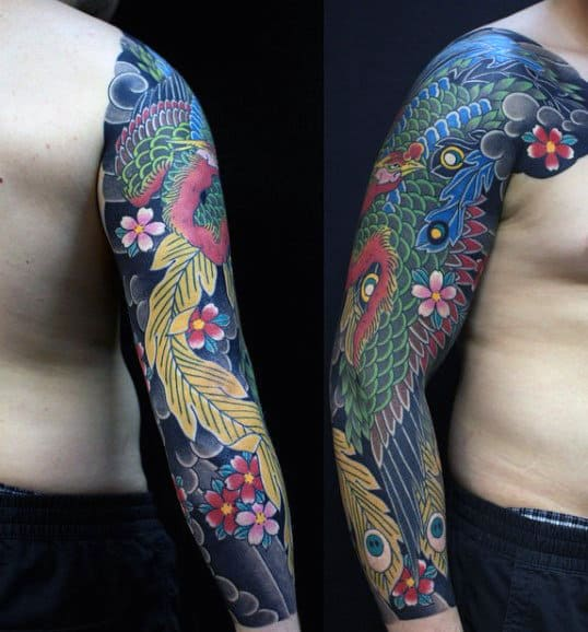 Men's Phoenix Japanese Sleeve Tattoo