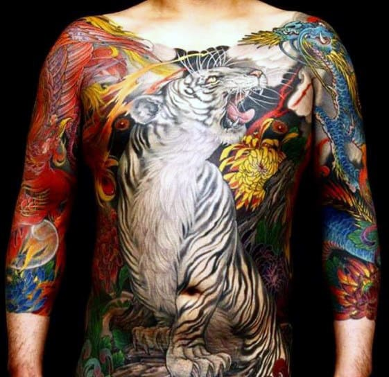 Mens Phoenix With Tiger Japanese Full Chest Tattoos