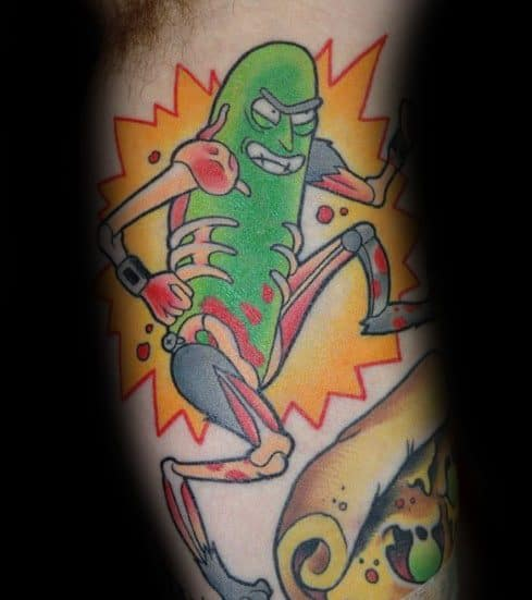 Mens Pickle Rick Tattoo Designs