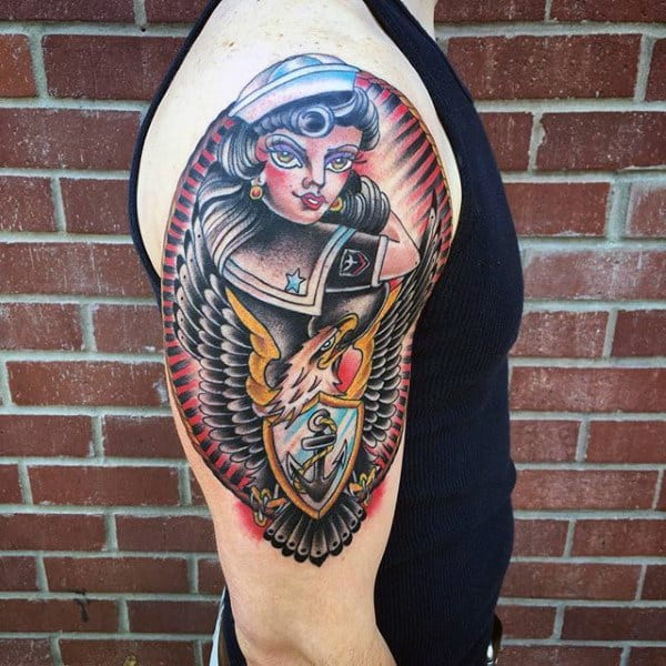 Mens Pin Up Girl Navy Upper Arm Tattoo With Eagle And Anchor