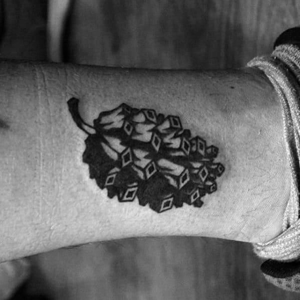 Mens Pine Cone Lower Leg Retro Tattoo Ideas