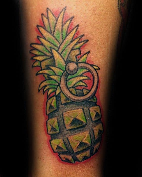 Mens Pineapple Grenade Arm Tattoo Design Inspiration