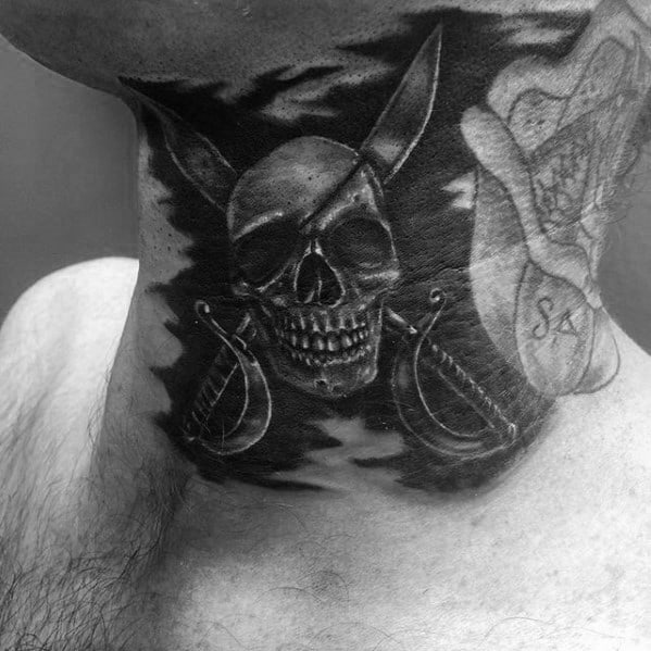 Mens Pirate Flag Neck Tattoos