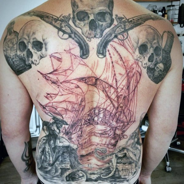 Men's Pirate Ship Tattoo On Back