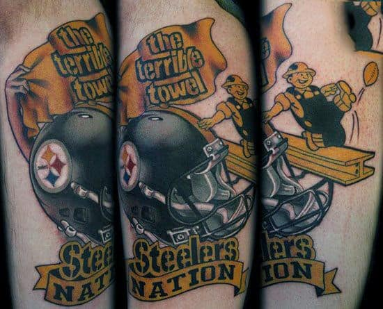 Mens Pittsburgh Steelers Nation Themed Arm Tattoos