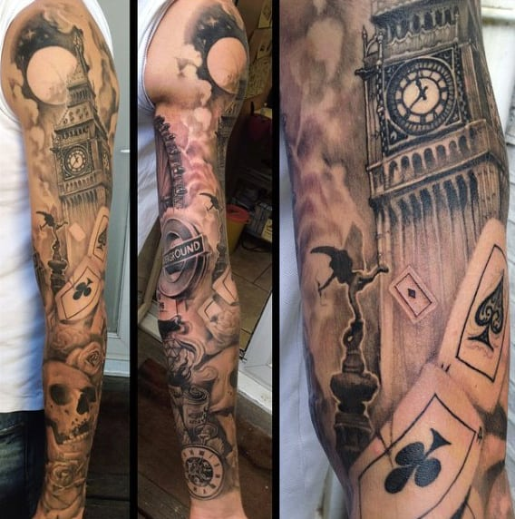 Mens Playing Cards Full Sleeve London Themed Tattoo Ideas