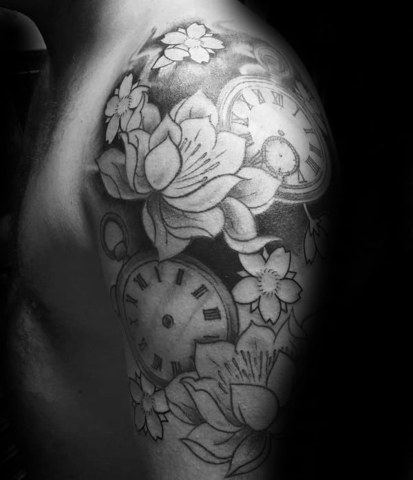 Mens Pocket Watch Cherry Blossom Half Sleeve Tattoo Ideas