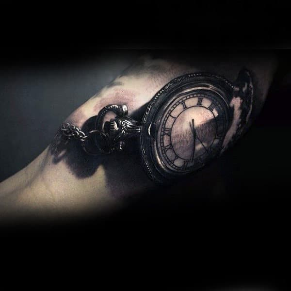 Mens Pocket Watch Insane Inner Arm Tattoos