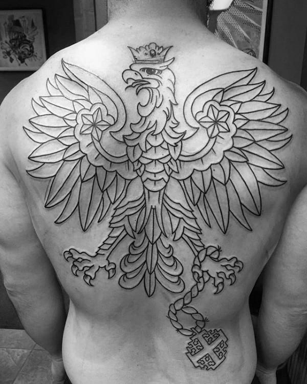 Mens Polish Eagle Black Ink Outline Full Back Tattoo Ideas