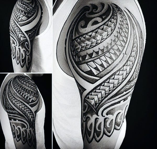 Mens Polynesian Half Sleeve Tribal Tattoos