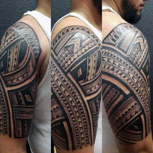 Mens Polynesian Half Slevee Tribal Tattoo Inspiration