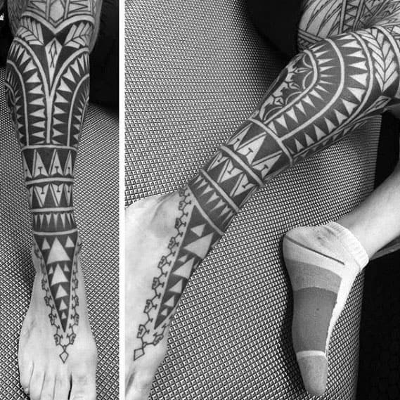 Mens Polynesian Leg Sleeve Tattoos