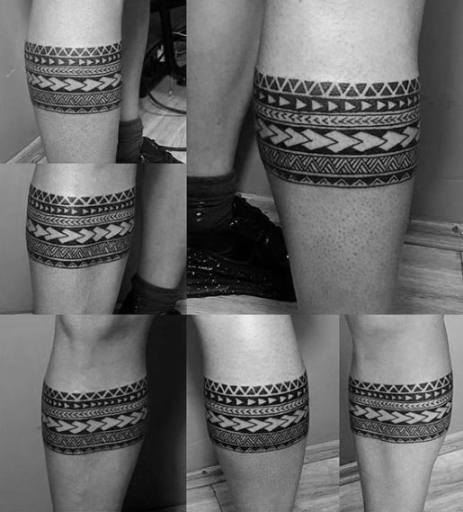 Mens Polynesian Leg Tattoo Band