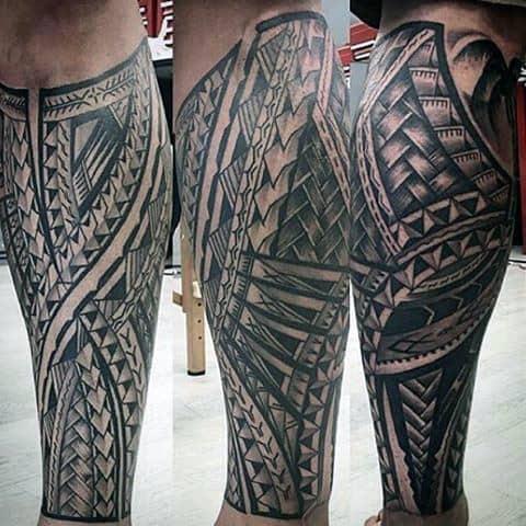 Mens Polynesian Shaded Black And Grey Leg Sleeve Tattoo