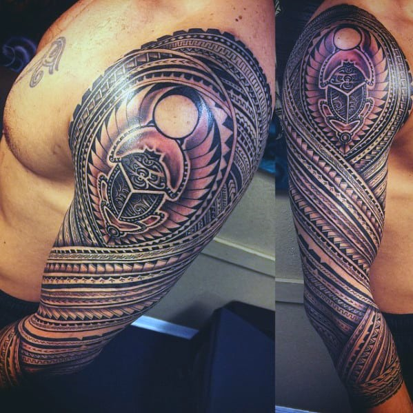 mens polynesian sleeve with scarab design tattoo design ideas