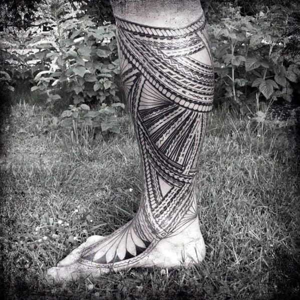 Mens Polynesian Tribal Foot Tattoo Sleeve