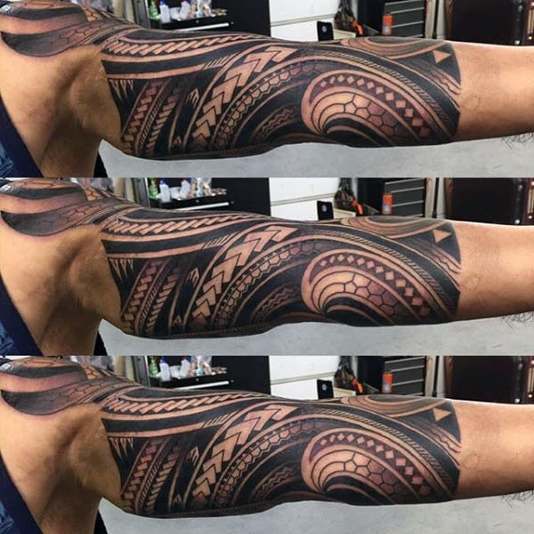 Mens Polynesian Tribal Half Sleeve Tattoo Inspiration