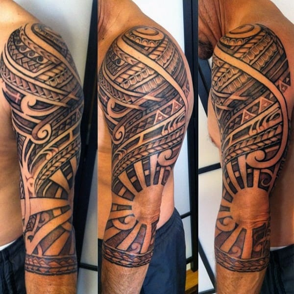 Mens Polynesian Tribal Half Sleeve Tattoo With Negative Space Sun Design