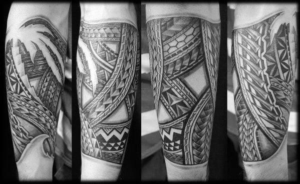 Mens Polynesian Tribal Incredible Forearm Tattoos
