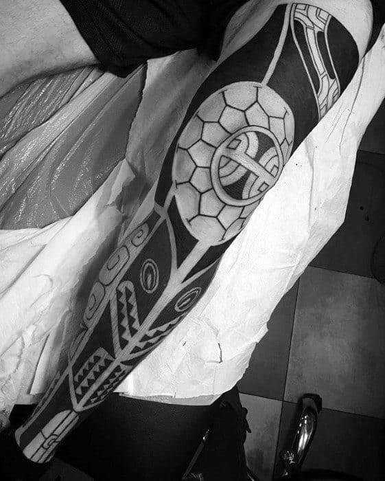 Mens Polynesian Tribal Negative Space Leg Sleeve Tattoo