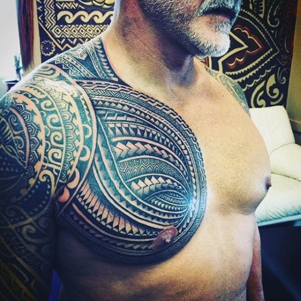 Mens Polynesian Tribal Shoulder Tattoos