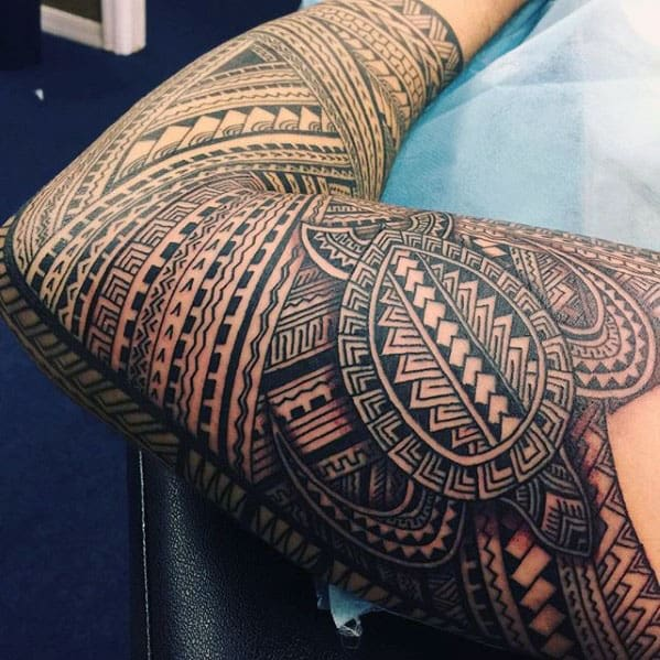 Mens Polynesian Tribal Turtle Sleeve Tattoos