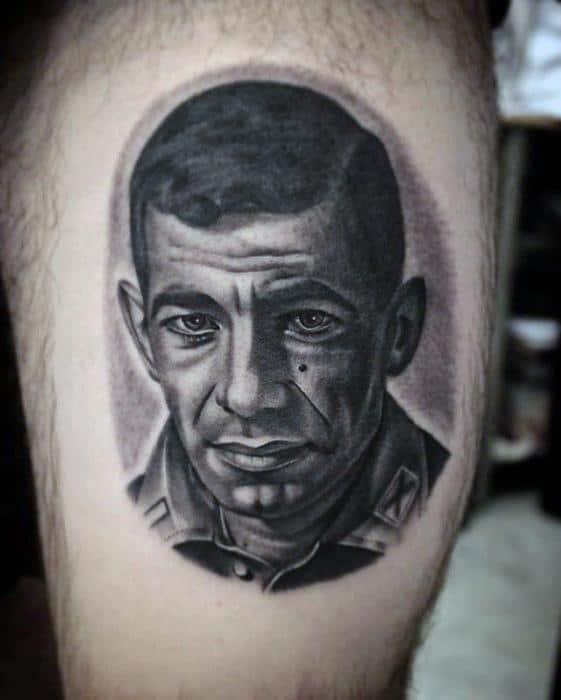 Mens Portrait Tattoo Design Inspiration On Thigh