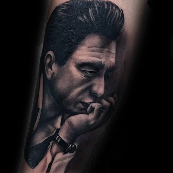 Mens Portrait Tattoo Ideas With Johnny Cash Design On Leg