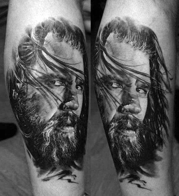 Mens Portrait Tattoos On Forearm