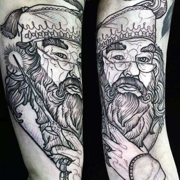 Mens Portrait Woodcut Arm Tattoo Design Ideas