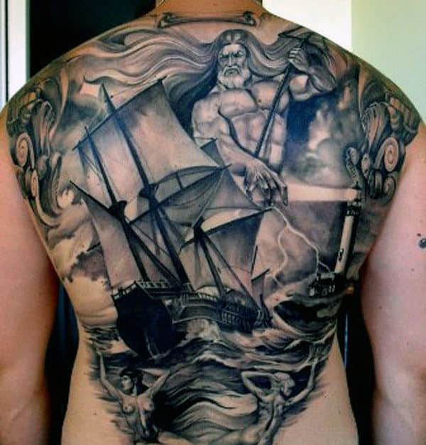 Men's Poseidon Tattoo Designs