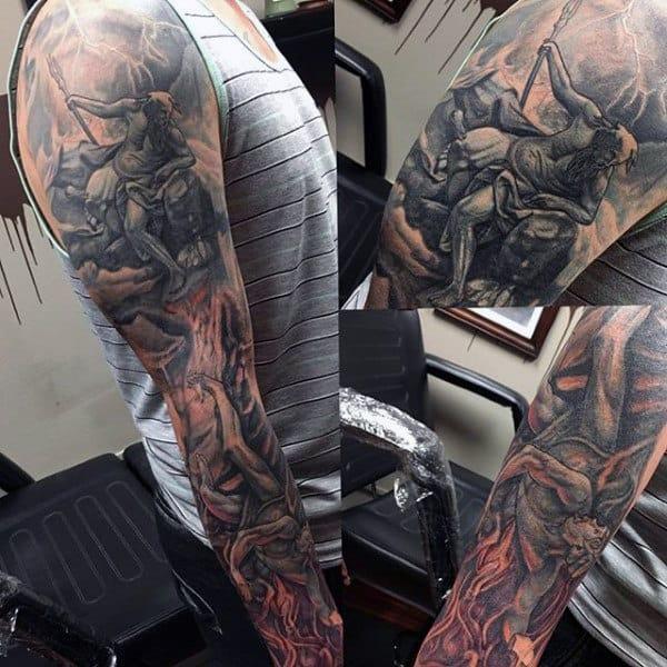 Men's Poseidon Tattoos Sleeves On Arm