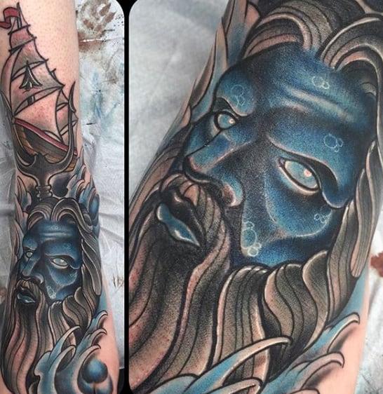 Men's Poseidon Trident Foot Tattoo