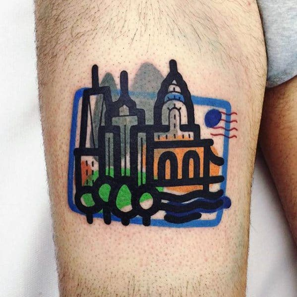 Mens Postage Stamp City Skyline Small Colorful Thigh Tattoo