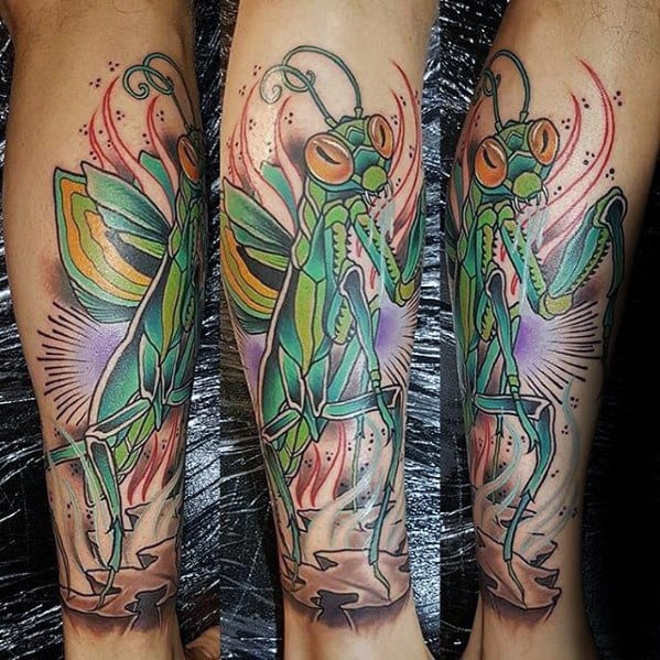 Mens Praying Mantis Tattoo Design Ideas
