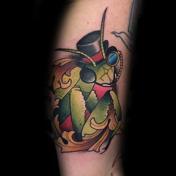 Mens Praying Mantis Tattoo Design Inspiration