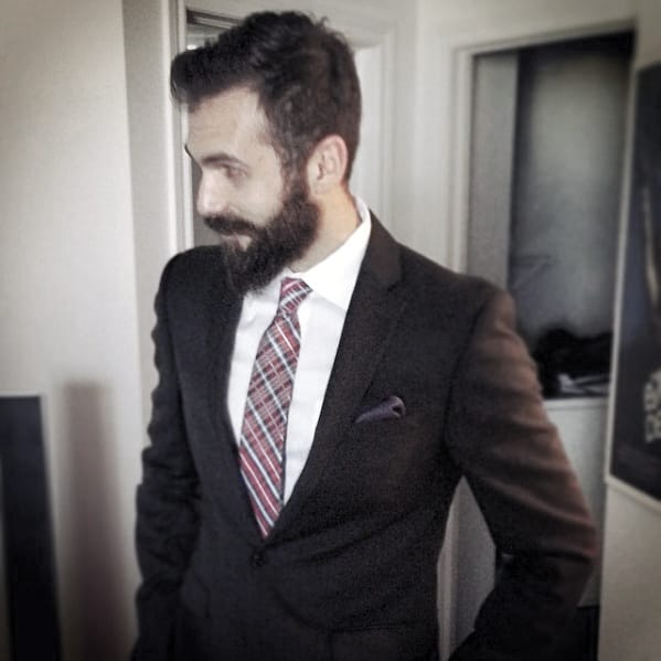 Mens Professional Beard Styles Black Suit