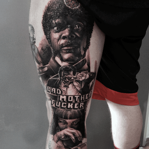 Mens Pulp Fiction Movie Themed Back Of Leg Tattoo