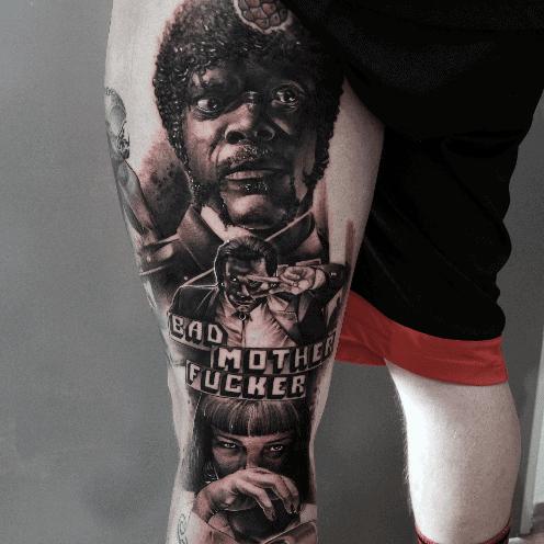 Mens Pulp Fiction Movie Themed Back Of Leg Tattoo
