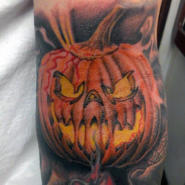 60 Pumpkin Tatt... Evil Jack O Lantern Tattoo