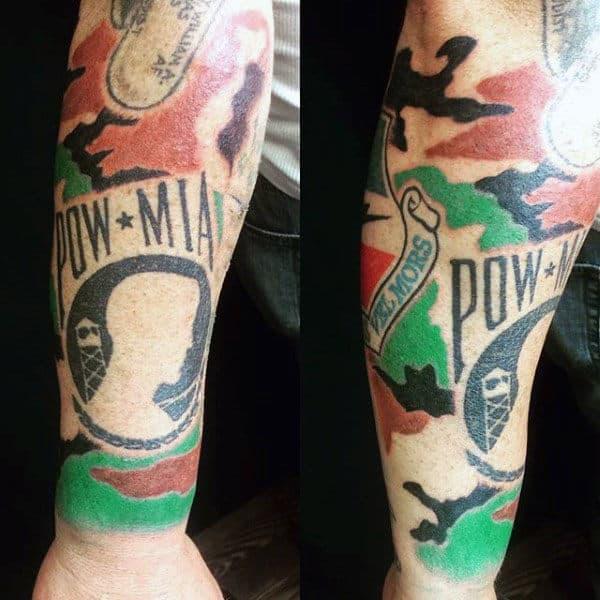 Mens Pw Mia Camouflage Forearm Tattoo