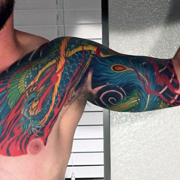 Mens Quarter Sleeve And Chest Colorful Japanese Phoenix Tattoo
