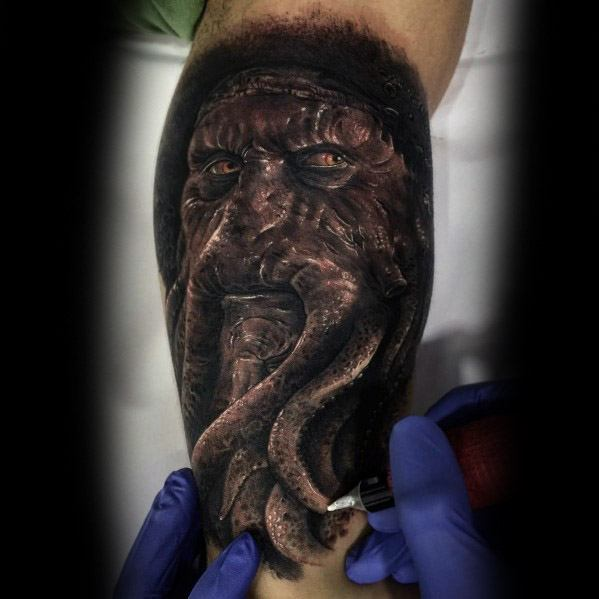 Mens Quarter Sleeve Arm Tattoo Ideas With Davy Jones Design
