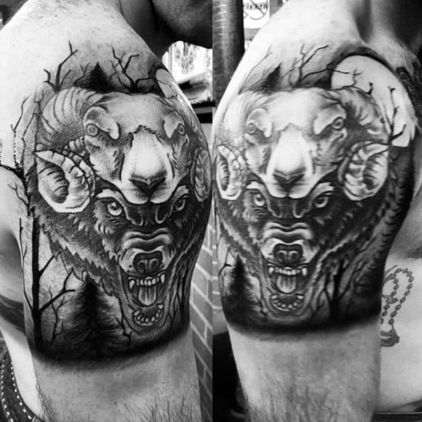 Mens Quarter Sleeve Black And Grey Wolf In Sheeps Clothing Tattoo Ideas