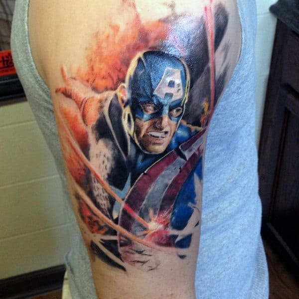 Mens Quarter Sleeve Captain America Tattoo Ideas