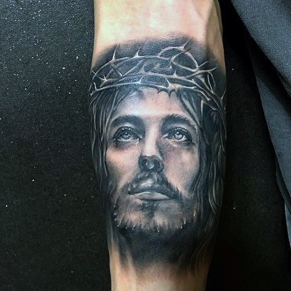 Mens Quarter Sleeve Jesus Tattoo On Inner Forearm